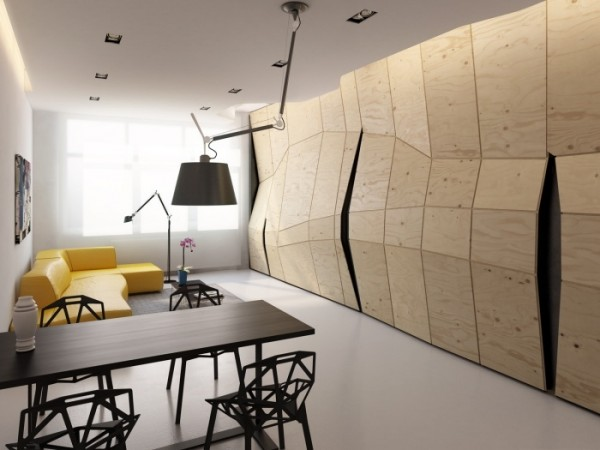 Transformer Apartment- plywood partition concealed closed with yellow lounge