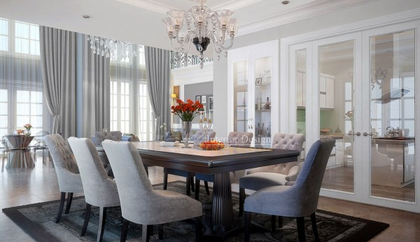 Tuananh Eke's classically styled formal dining with chandelier and glass doors to modern kitchen