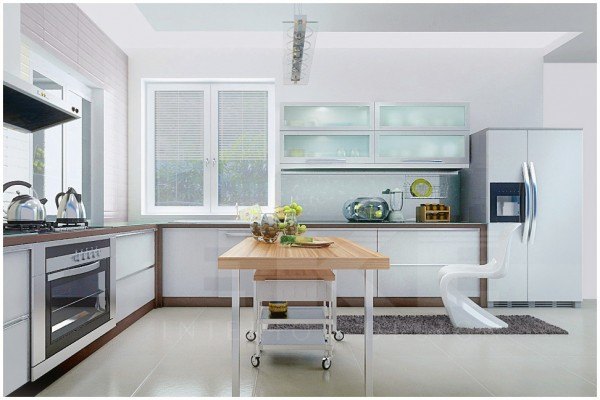 Tuananh Eke's modern white kitchen with blonde wood island worktop sleek cabinetry and double door fridge
