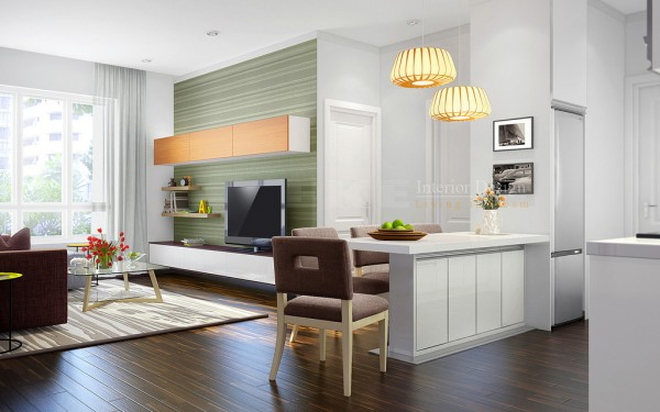 Tuananh Eke's open plan kitchen dining living on hardwood flooring