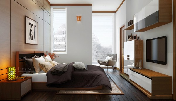 Tuananh Eke's white and wood bedroom with rich accents and warm palette