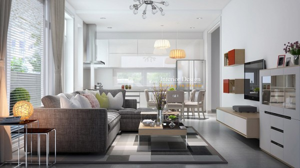Subtle repetition is evident with these first few images depicting open plan kitchen, dining and entertainment areas. The basket-like pendant lights that hang above those areas used to serve food add an organic quality to an otherwise modern space. Also depicted in this final image is a segmented area rug in shades of grey that lends it, and the few images to follow, a simplicity that can be styled up to a level of classical sophistication or stripped back, allowing the rug to feature.