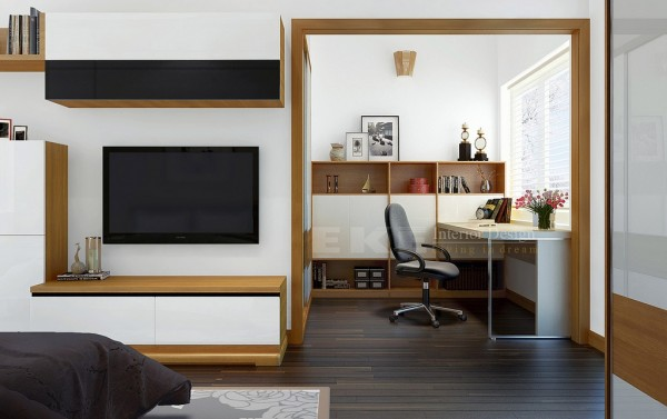 Tuananh Eke's wooden framed multipurpose space with office and bedroom entertainment ares