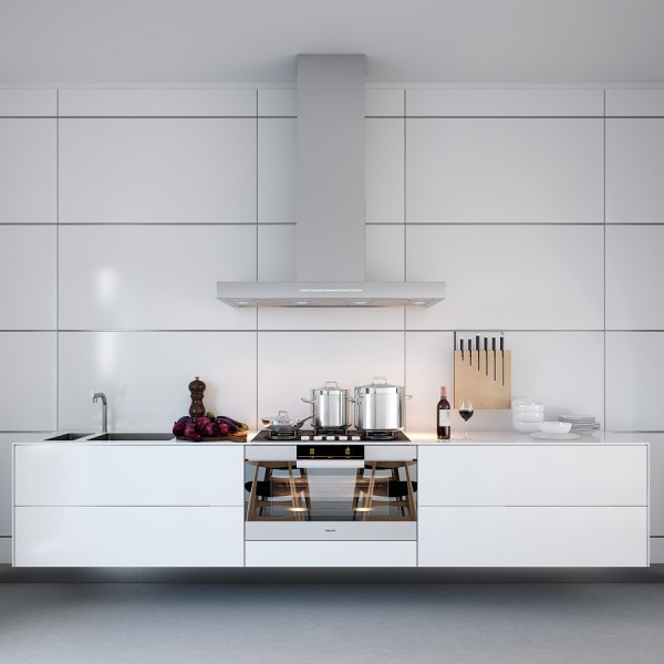 White Symmetrical Kitchen- range with natural wooden kitchen accessories
