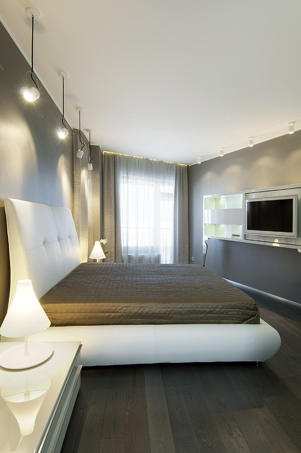 bedroom cool palette with warm accents pendant style down lighting