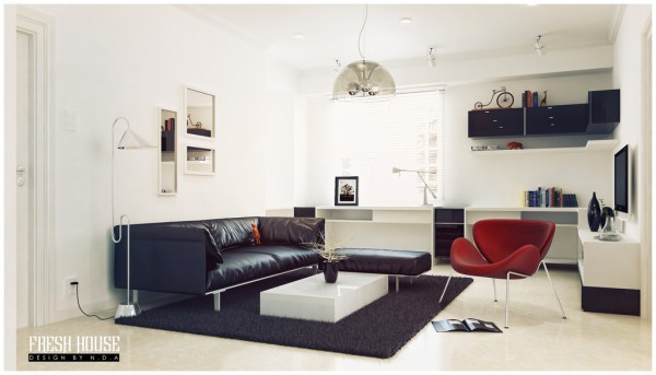 black white living room red accents
