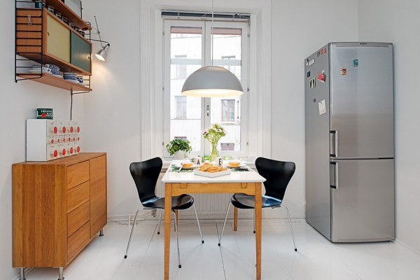 i Urban Apartment with Terrrace- casual kitchen dining setup with stainless steel fridge and storage