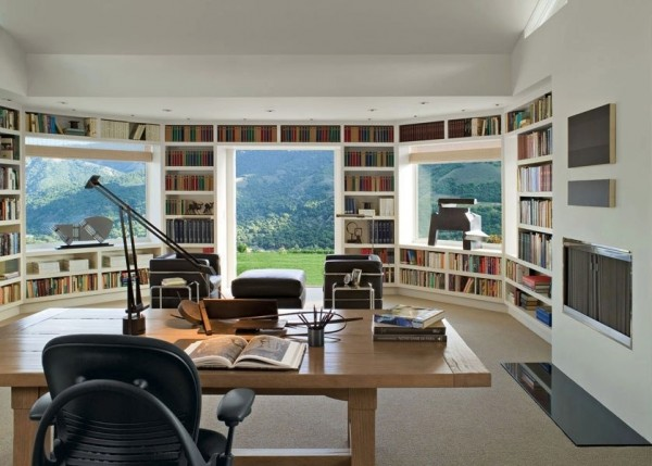 in-built library walled workspace with mountain views