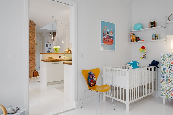 k Urban Apartment with Terrrace- white canvas with bright accessories nursery off kitchen