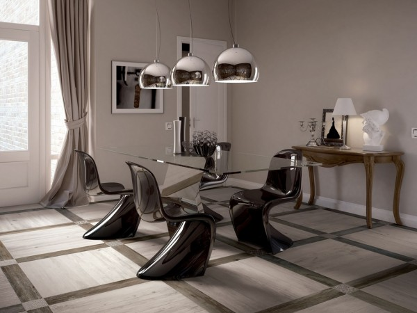 light and dark contrasting wooden tiled floor dining