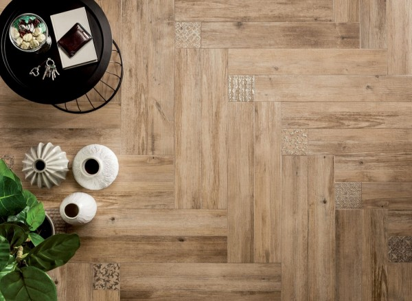 medium Angled wooden floor tiles