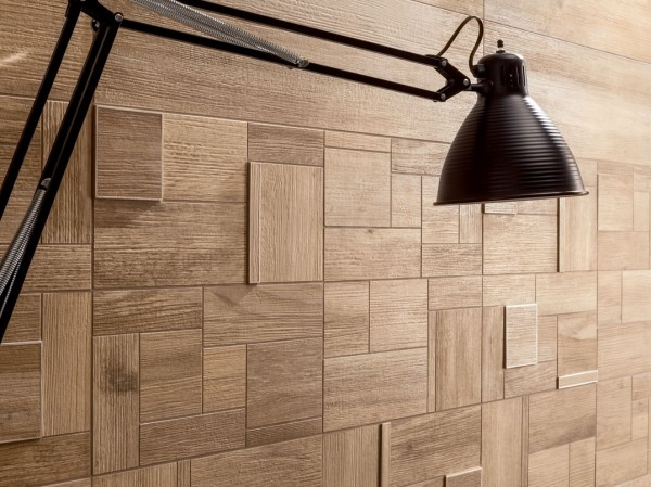 medium Rough grain square and rectangular combination wooden wall tiles
