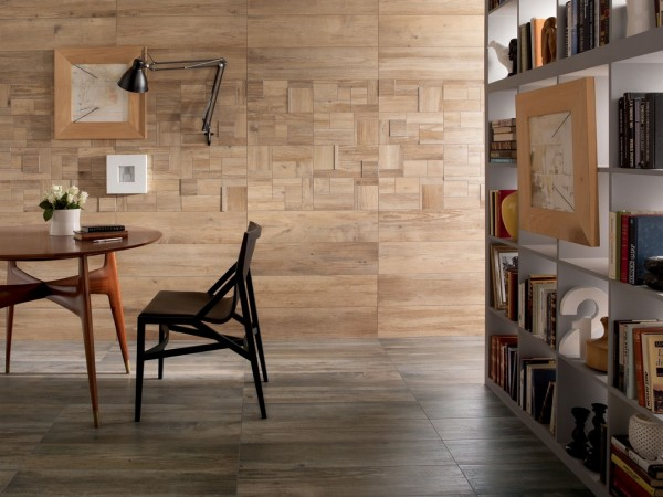 medium contrasting wooden floor and wall tiles