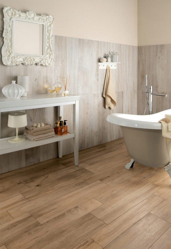 medium rough wooden floor tiles in bathroom