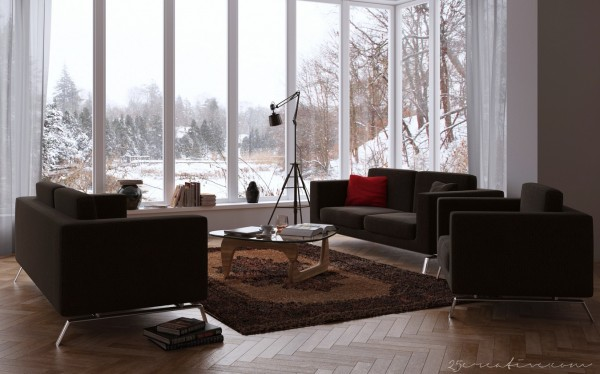 25Creative- chocolate living room with windowed wall