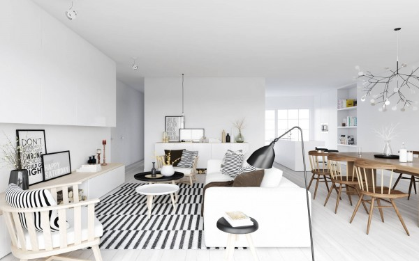 ATDesign- Nordic style living in monochrome with wooden dining