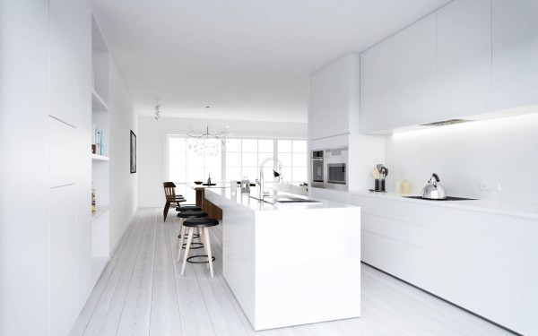 ATDesign- Nordic style minimalist kitchen in white