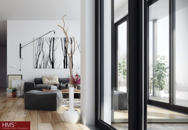 Hoang Minh- nordic style living room with windowed walls