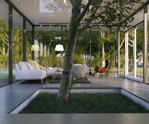 Le Anh- white living with indoor tree feature