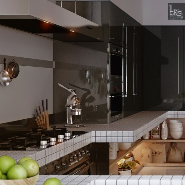 Leks Architects Kiev Apartment- monochrome lacquered kitchen cabinetry with spider burners