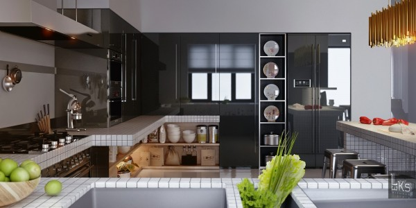 Leks Architects Kiev Apartment- monochrome lacquered kitchen with modern fixtures