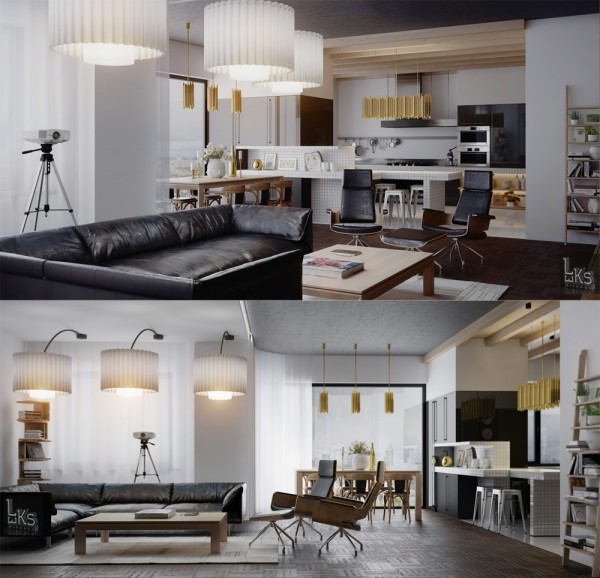 Leks Architects Kiev Apartment- open plan kitchen dining living double feature