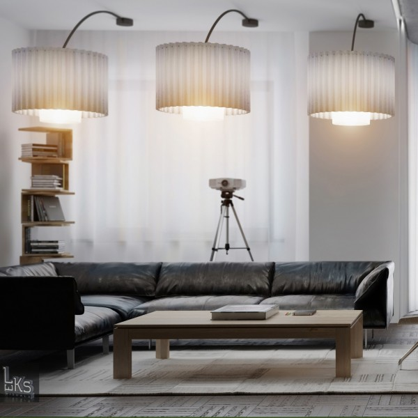 Leks Architects Kiev Apartment- triple modern lighting over black leather lounge with projector