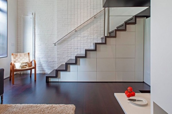 Manhattan-Micro-Loft- storage stairs to living