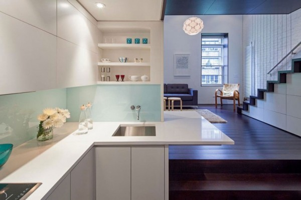 Manhattan-Micro-Loft- white downlit kitchen