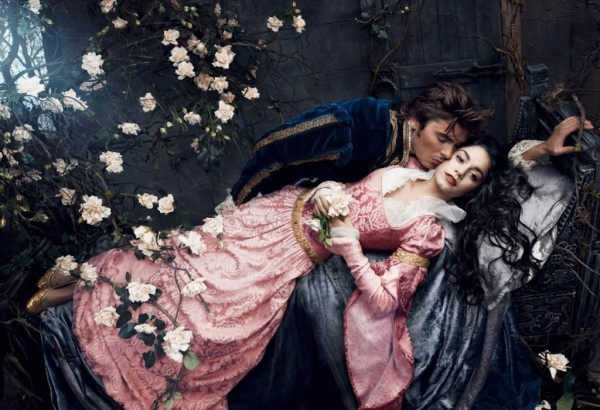 Former Disney darlings Vanessa Hudgens and Zac Effron are pictured here as Sleeping Beauty and her Prince Charming.