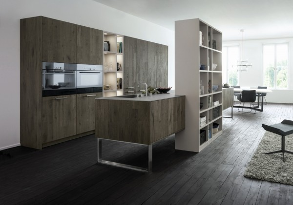 dark wood grey and white kitchen