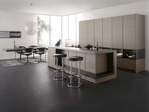 light wood cladding in kitchen with island