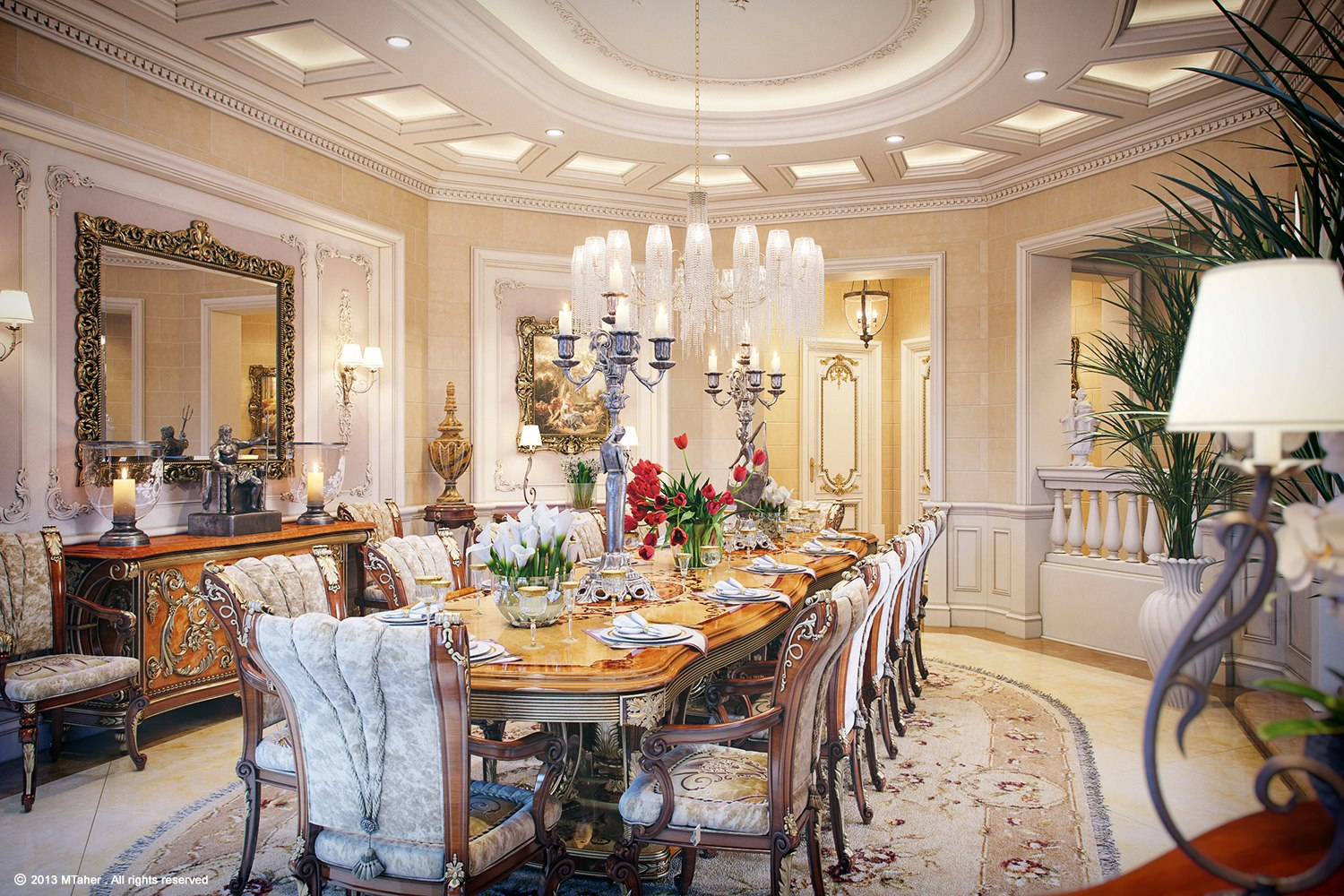 Luxury villa in qatar visualized for Dining room photos