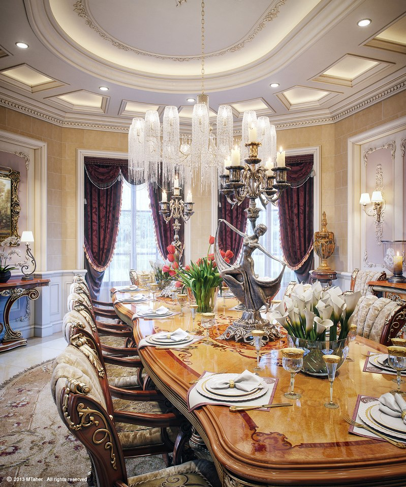 Luxury villa dining room for Luxury dining room design