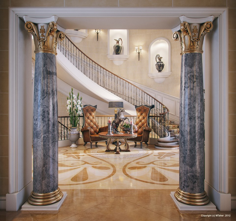 Luxury villa entry for Mansion foyer designs