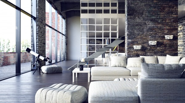 The second loft space was visualized by digital artist Juraj Talcik. His take on modern loft living is edgy, moody and hip with its industrial interior architectural elements and dark hard-edged accents. His rooms are carefully curated with each piece of furniture chosen for its unique form and line. Both lofts offer a glimpse into what it might be like to live in a high-end city loft.