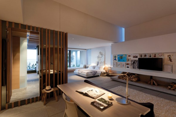 The expansive master bedroom suite boasts a large office space with media center set off to its side thus keeping the sleeping quarters quite and calming.