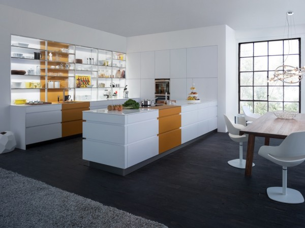 white lacquered kitchen cabinetry in orange
