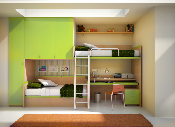 The ultimate built-in for any kids room, this wall unit features off set bunk beds, storage and closet space and work desk.