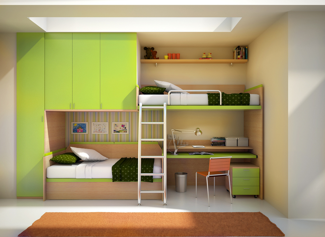 ... built in for any kids room this wall unit features off set bunk beds