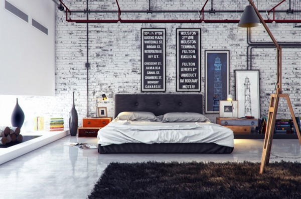 Rustic industrial architectural elements provide texture and interest in this large bedroom suite. Brick is softened in a whitewash finish.