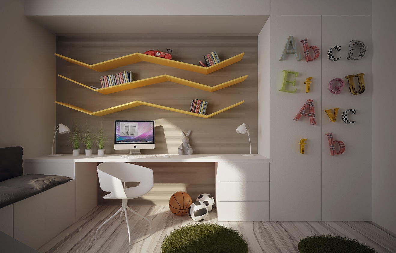 12 kids bedrooms with cool built ins for Table for kids room