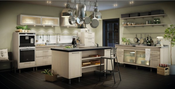 The Ekero birch kitchen inspires with its ample, open work spaces and plentiful storage elements. It's an exciting mix of modern function and charming European styling. The substantial island is an ideal place to prepare food as well as plan menus and browse cookbooks.