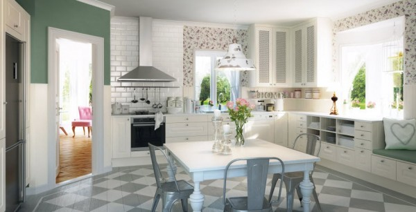 The Lindo white kitchen is a charming cottage style space featuring crisp cabinetry with braided detailing, antiqued hardware and handy wall hatches to keep oft-used items close at hand. Painted diamond-patterned wood flooring adds as does the floral wallpaper in spring-like hues.
