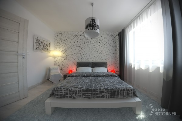 A graphic grey, black and white modern bedroom gets a pop of color with two glowing globe table lamps.