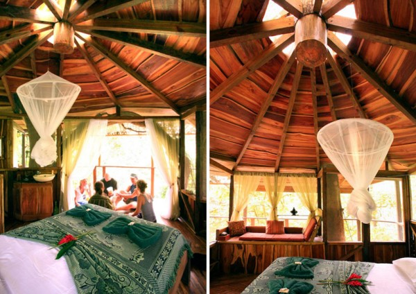 A bedroom is located at the top level of one of these tree structures with a circle peaked ceiling and a complete surround of windows giving way to the jungle beyond.
