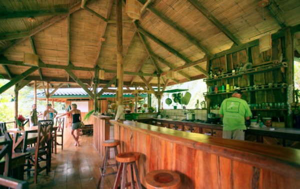 A communal bar offers a place to meet and relax with community members.
