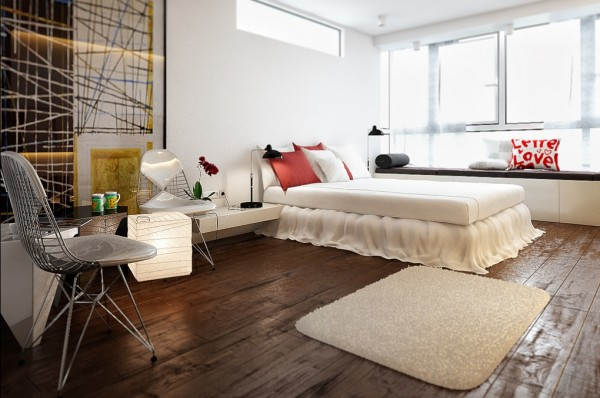 The rustic hardwood floors contrast nicely with the bedroom's pristine white elements. The grid pattern of the modern artwork is echoed in the Eiffel style metal chairs.