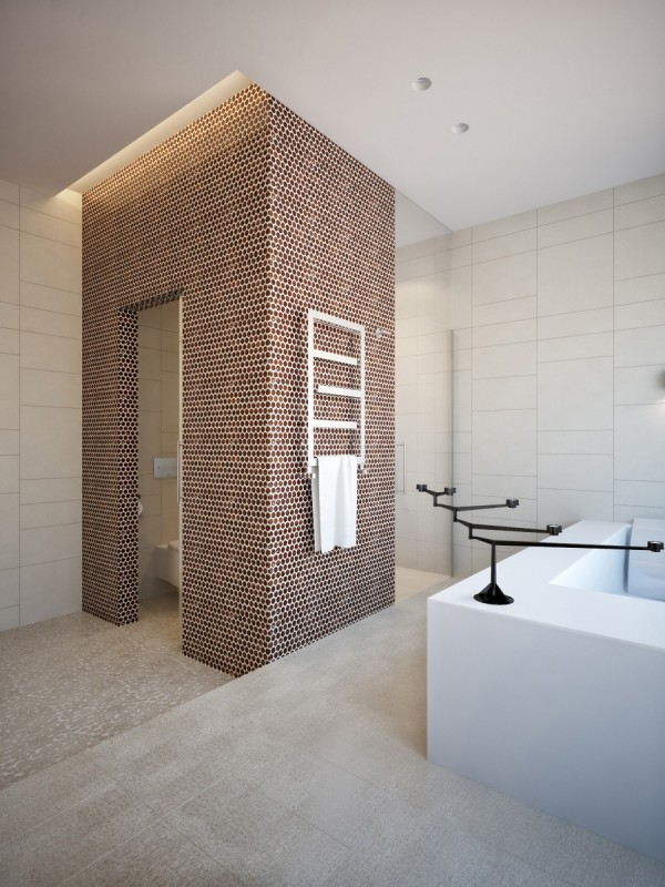 Thousands of tiny honeycomb tiles envelop the separate toliet and add texture and pattern in massive amounts to the otherwise neutral space.