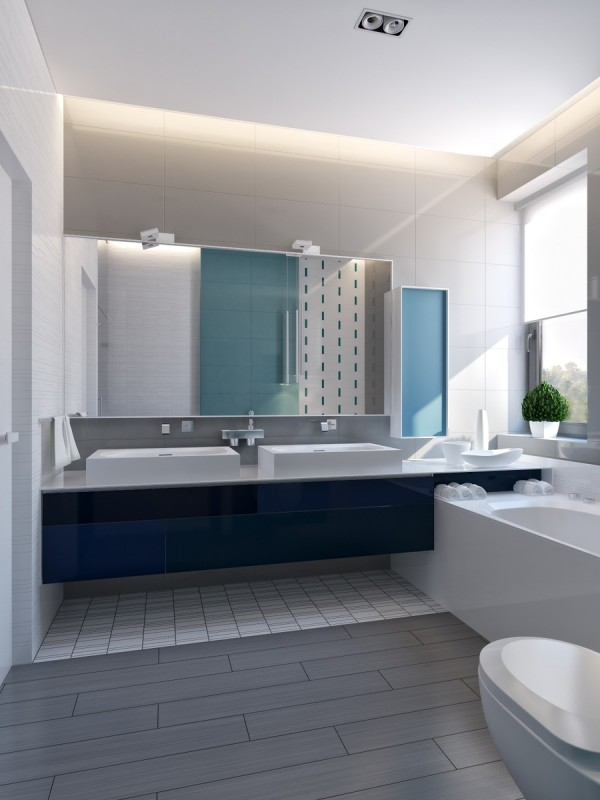 modern vibrant blue bathroom 1